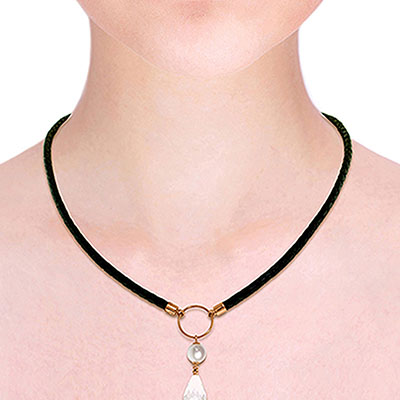 White Topaz and Pearl Leather Pendant Necklace 9.0ctw in 9ct Rose Gold