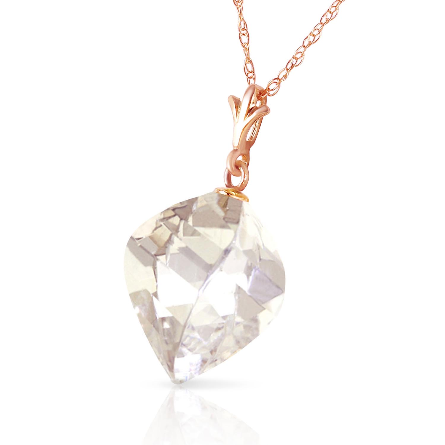 White Topaz Briolette Pendant Necklace 12.8ct in 14K Rose Gold