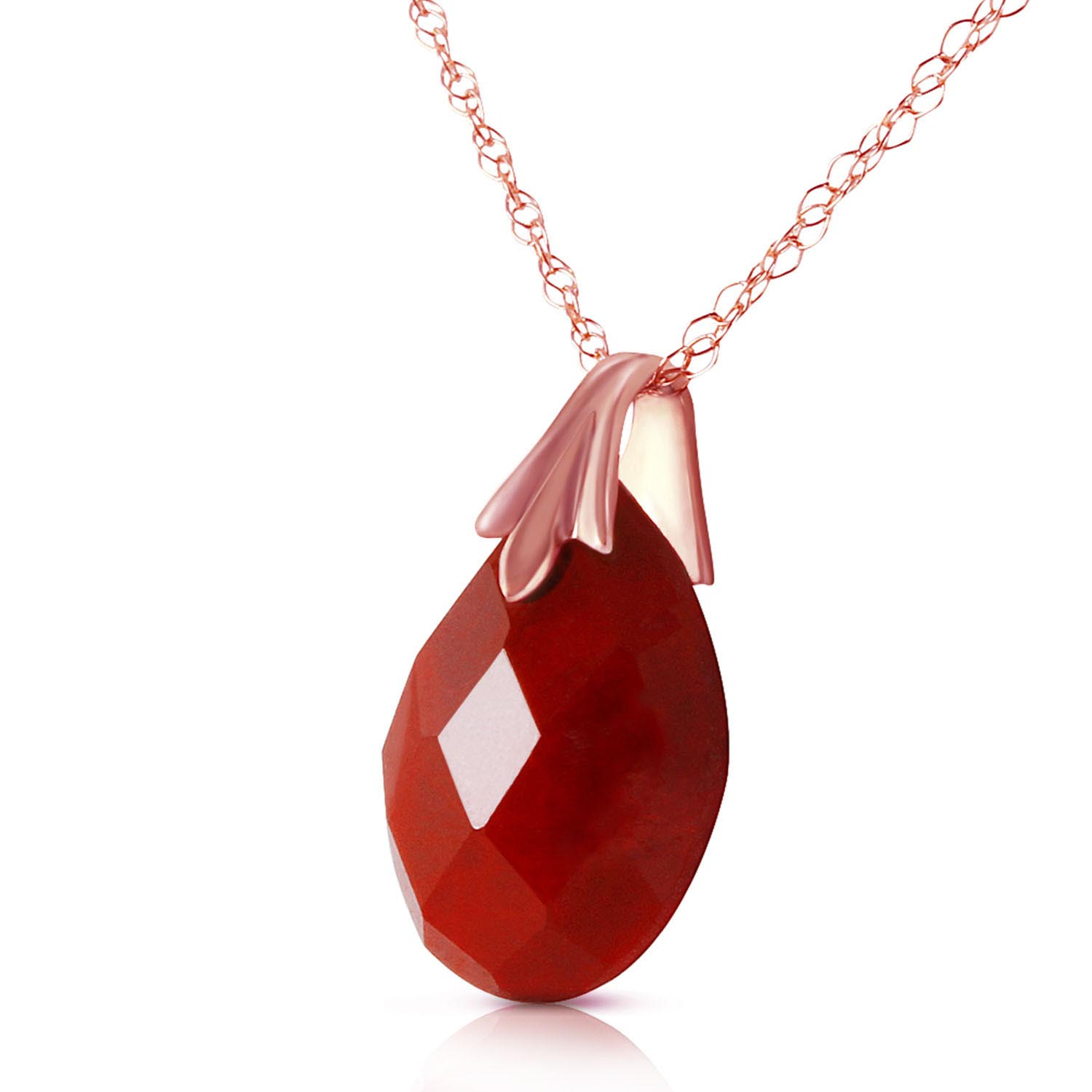 Ruby Briolette Pendant Necklace 4.0ct in 14K Rose Gold