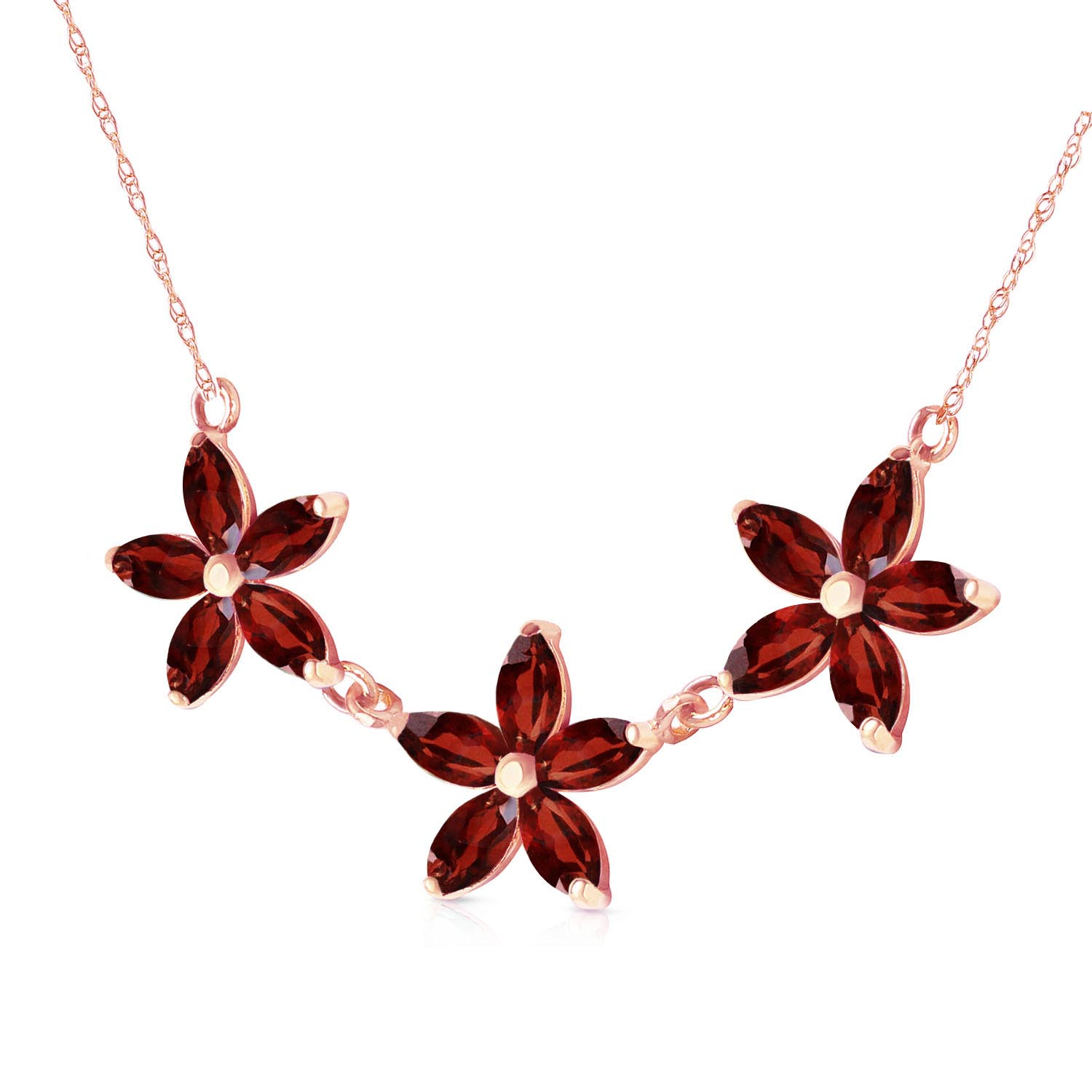 Marquise Cut Garnet Pendant Necklace 4.2ct in 9ct Rose Gold