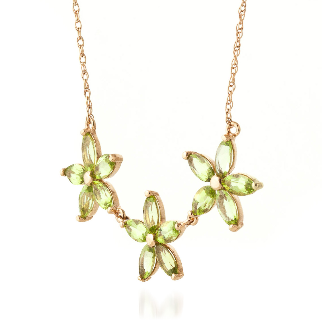 Marquise Cut Peridot Pendant Necklace 4.2ct in 14K Rose Gold