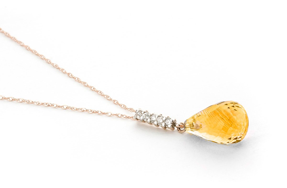 Citrine and Diamond Pendant Necklace 5.0ct in 14K Rose Gold