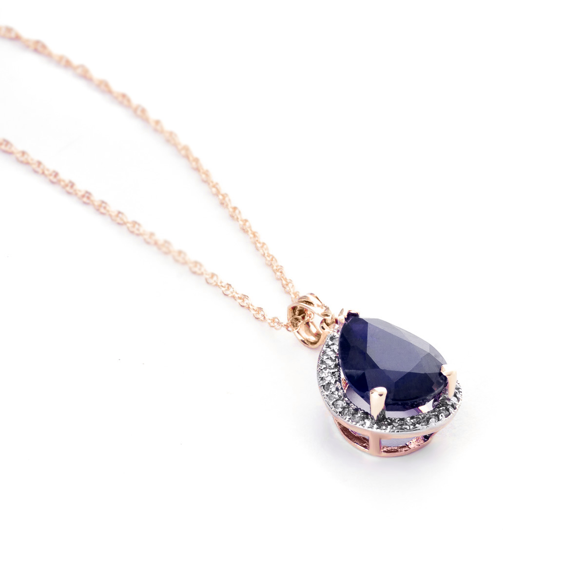 Sapphire and Diamond Halo Pendant Necklace 5.1ct in 9ct Rose Gold