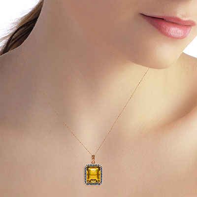 Citrine and Diamond Halo Pendant Necklace 5.2ct in 14K Rose Gold