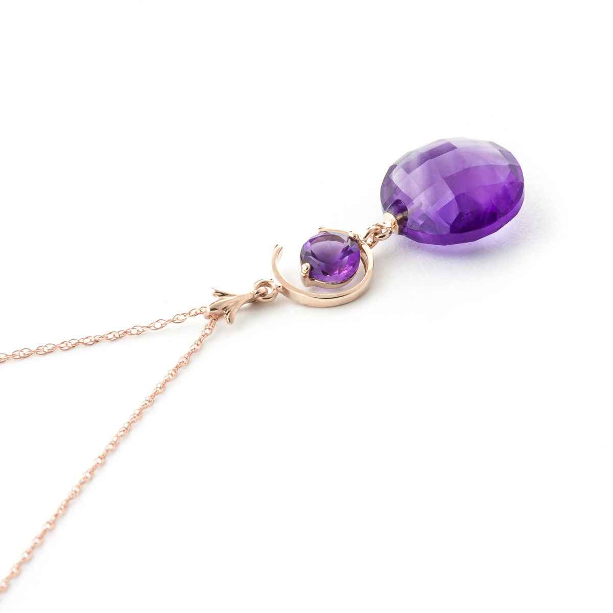 Round Brilliant Cut Amethyst Pendant Necklace 5.8ctw in 14K Rose Gold