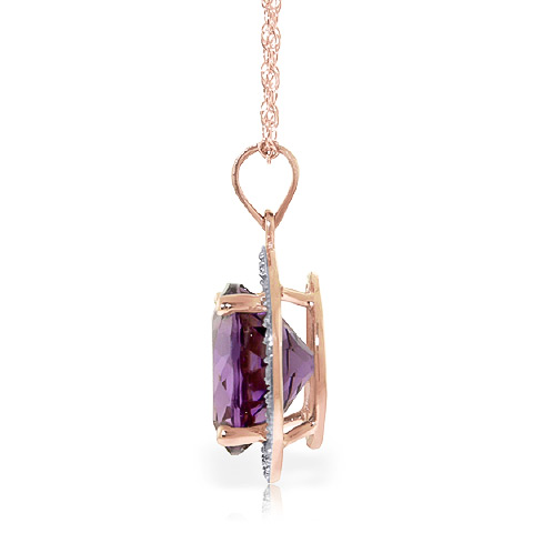 Amethyst and Diamond Halo Pendant Necklace 6.0ct in 14K Rose Gold