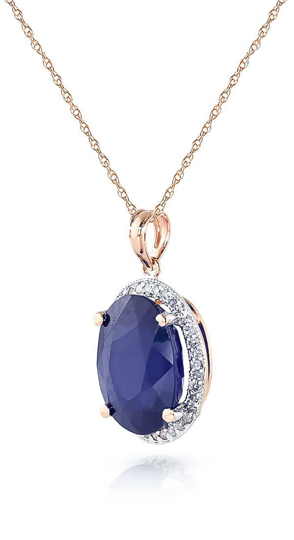 Sapphire and Diamond Halo Pendant Necklace 6.4ct in 14K Rose Gold