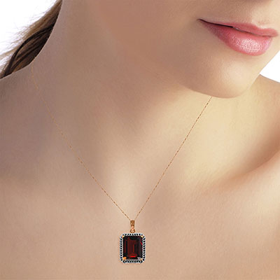 Garnet and Diamond Halo Pendant Necklace 7.5ct in 14K Rose Gold
