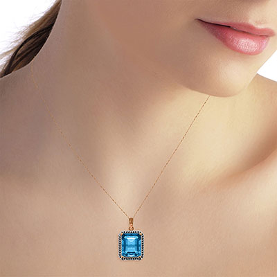 Blue Topaz and Diamond Halo Pendant Necklace 7.6ct in 14K Rose Gold
