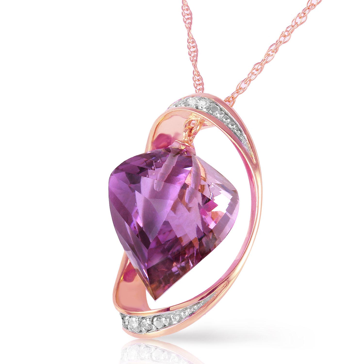 Amethyst and Diamond Pendant Necklace 10.75ct in 14K Rose Gold