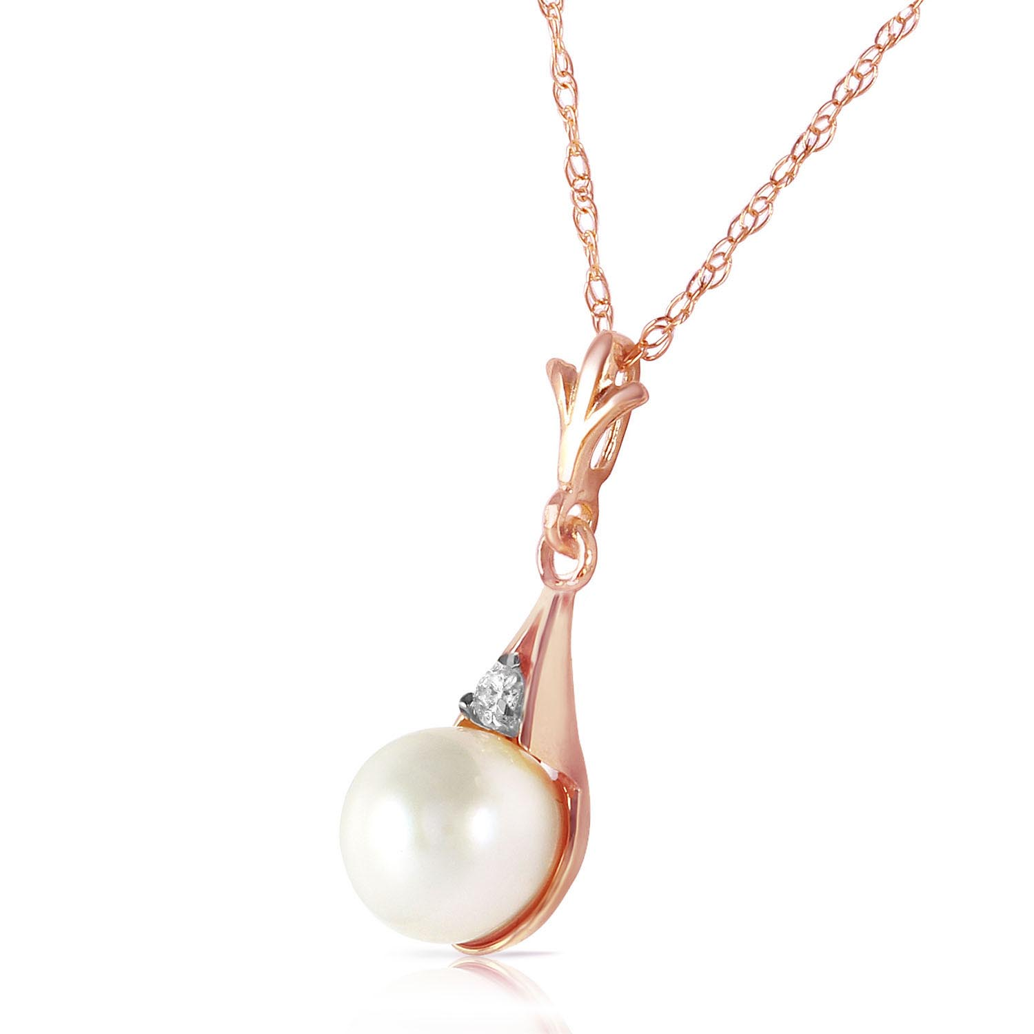Pearl and Diamond Pendant Necklace 2.0ct in 9ct Rose Gold
