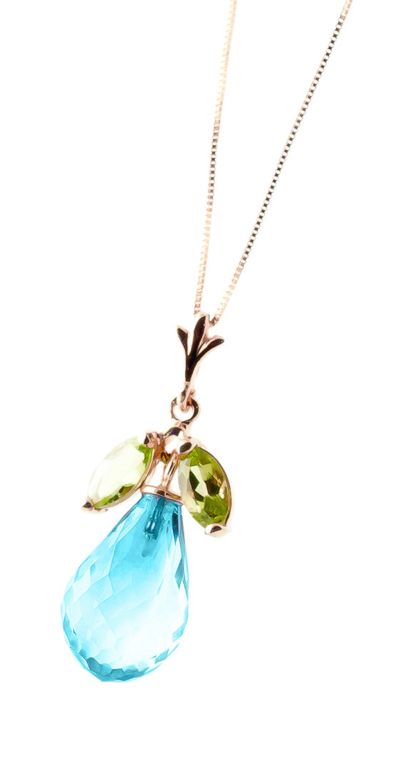 Blue Topaz and Peridot Pendant Necklace 7.2ctw in 9ct Rose Gold