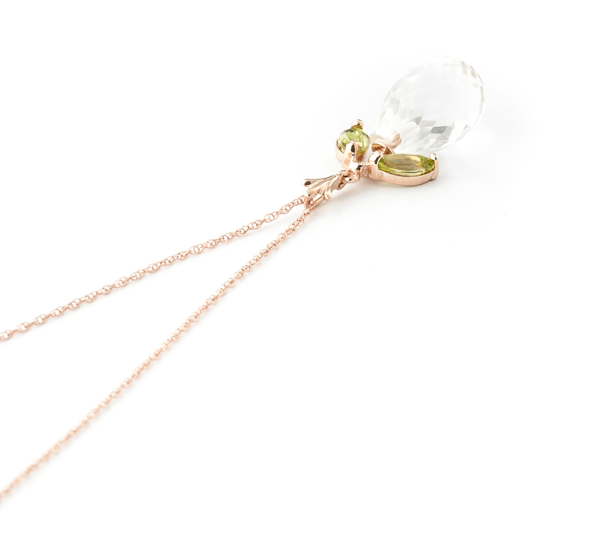 White Topaz and Peridot Pendant Necklace 7.2ctw in 14K Rose Gold