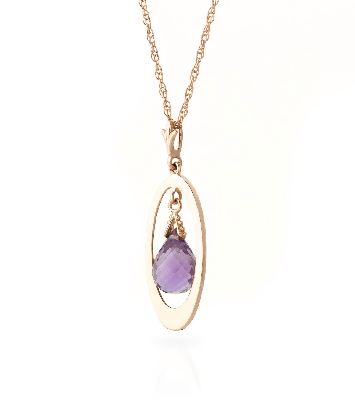 Amethyst Orb Briolette Pendant Necklace 0.7ct in 14K Rose Gold