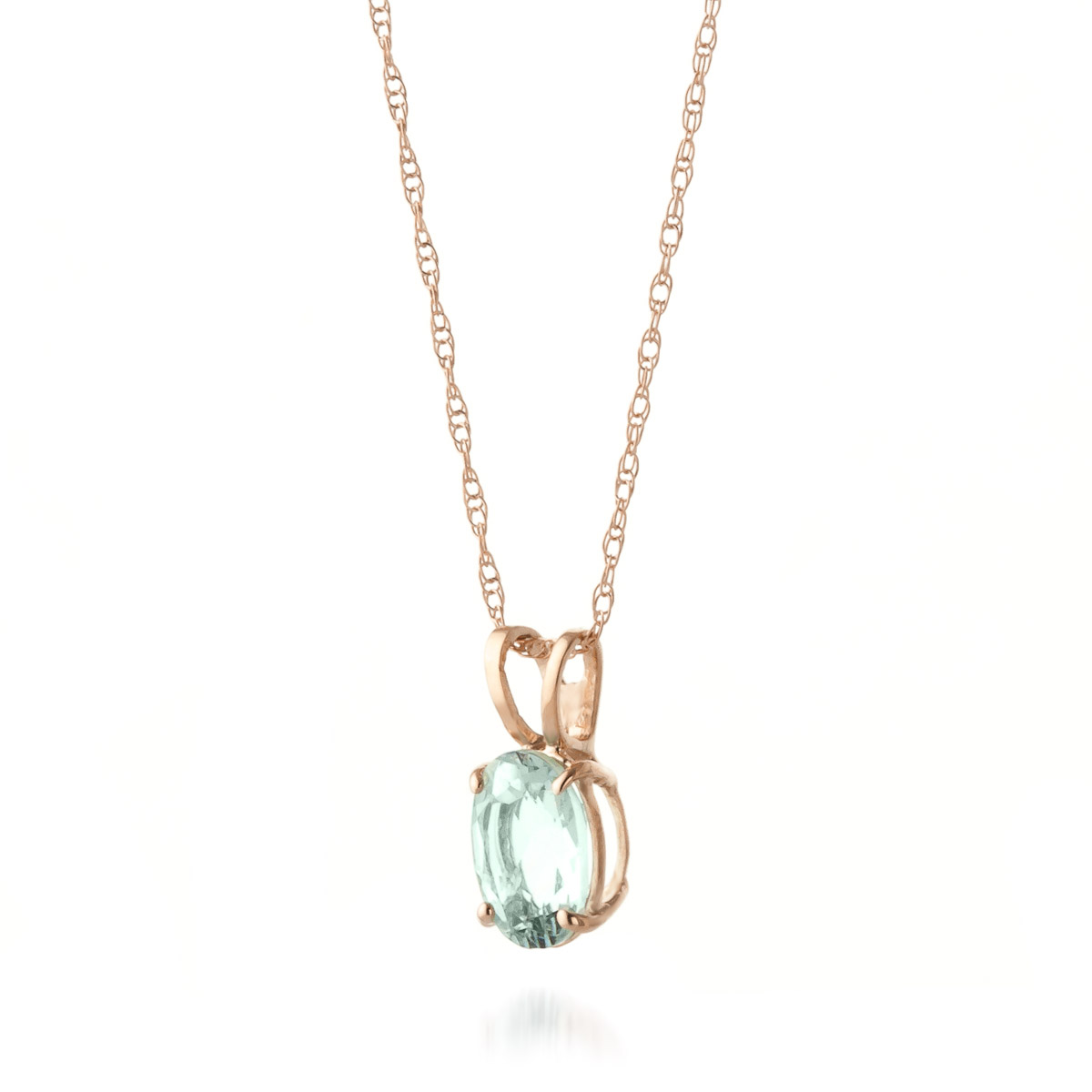 Oval Cut Aquamarine Pendant Necklace 0.75ct in 9ct Rose Gold