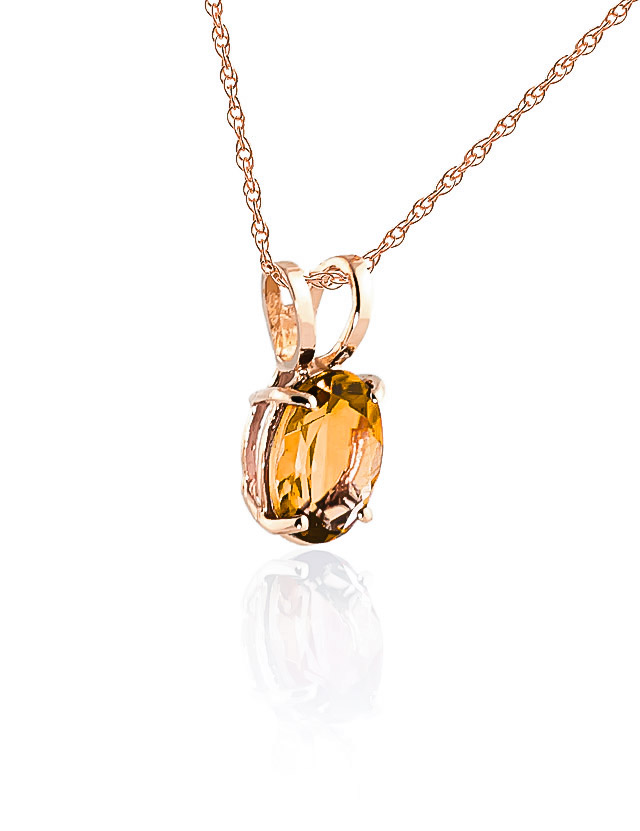 Oval Cut Citrine Pendant Necklace 0.85ct in 9ct Rose Gold