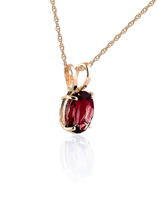 Oval Cut Garnet Pendant Necklace 0.85ct in 14K Rose Gold