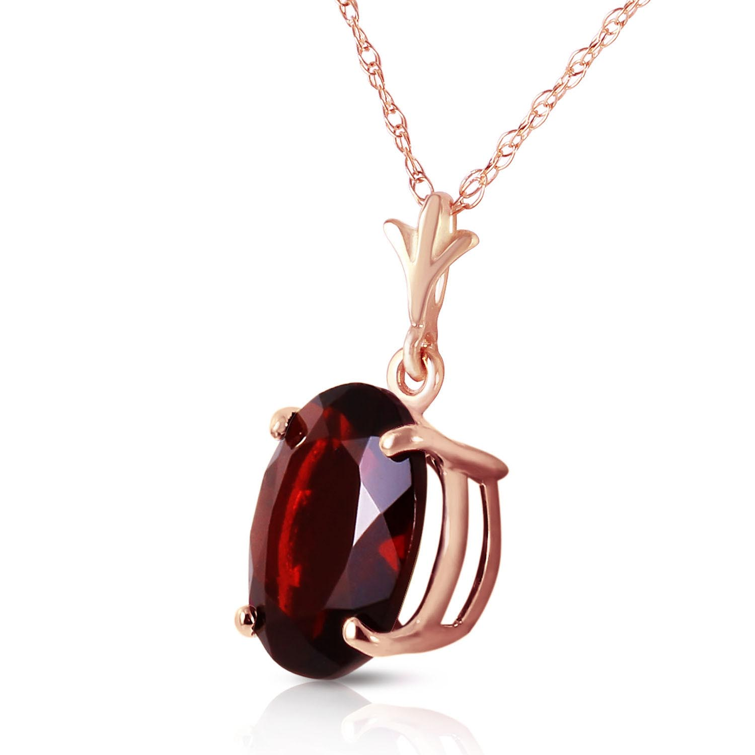 Oval Cut Garnet Pendant Necklace 3.12ct in 14K Rose Gold