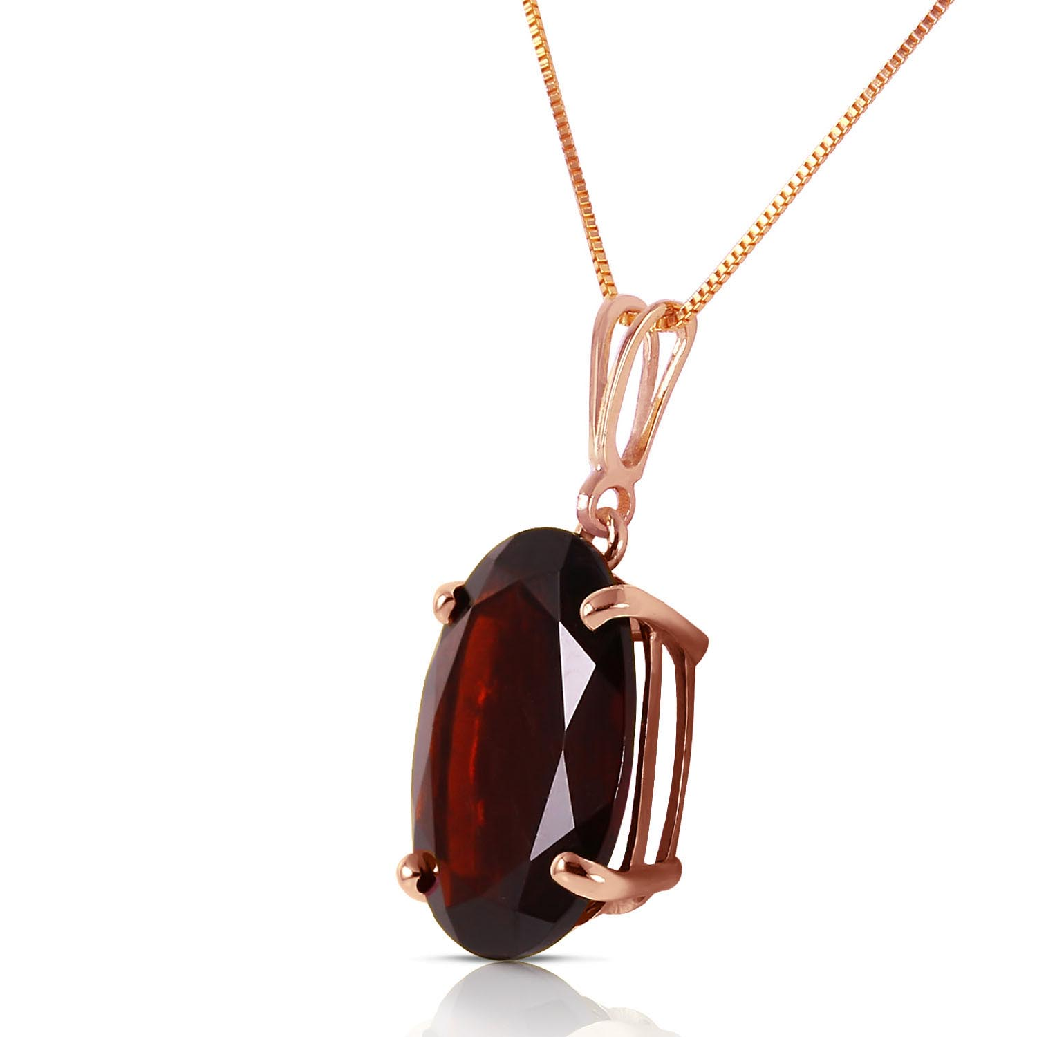 Oval Cut Garnet Pendant Necklace 6.0ct in 9ct Rose Gold