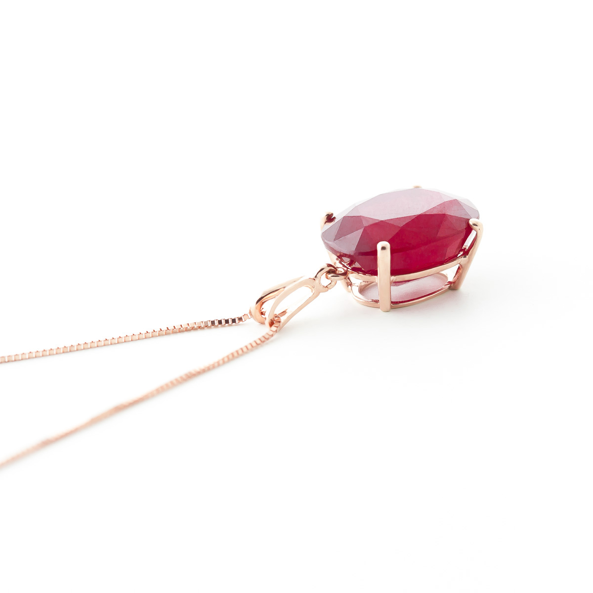 Oval Cut Ruby Pendant Necklace 7.7ct in 14K Rose Gold