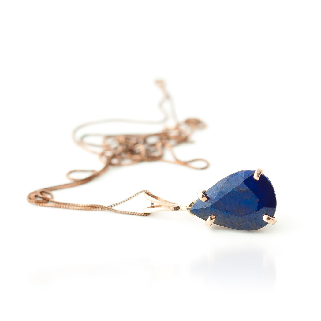 Pear Cut Sapphire Pendant Necklace 4.65ct in 14K Rose Gold