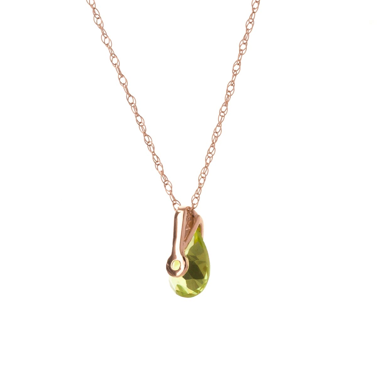 Pear Cut Peridot Pendant Necklace 0.68ct in 14K Rose Gold