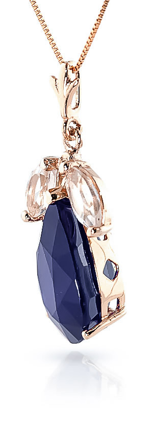 Pear Cut Sapphire Pendant Necklace 4.65ct in 9ct Rose Gold