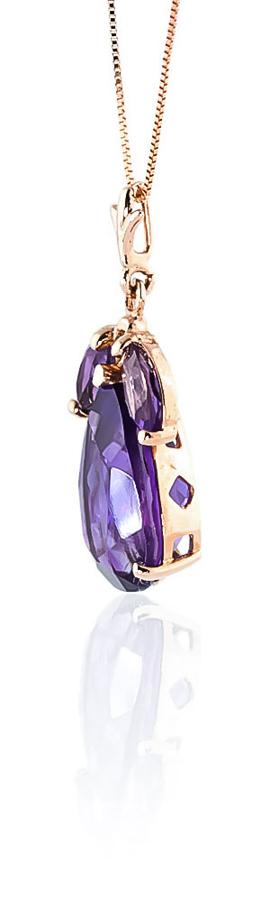 Pear Cut Amethyst Pendant Necklace 6.5ctw in 9ct Rose Gold