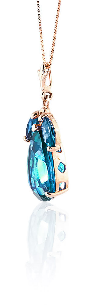 Pear Cut Blue Topaz Pendant Necklace 6.5ctw in 9ct Rose Gold