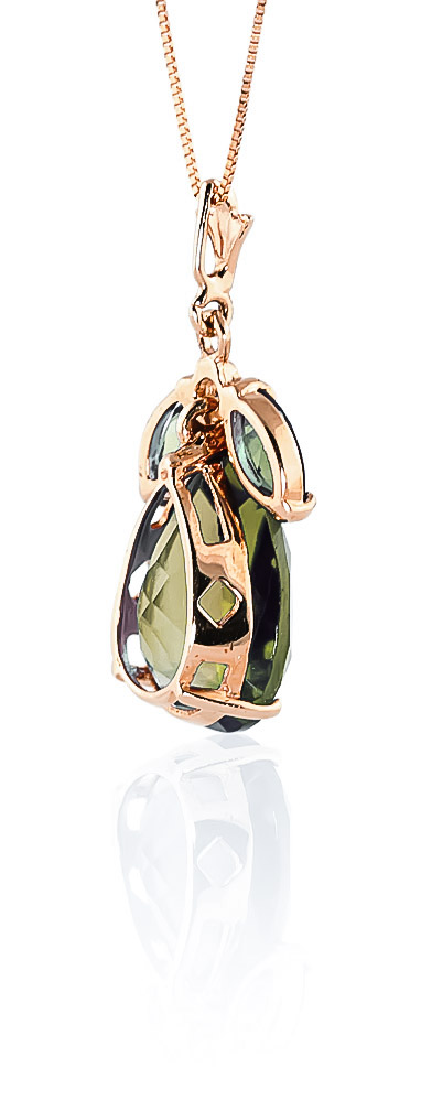 Pear Cut Green Amethyst Pendant Necklace 6.5ctw in 9ct Rose Gold
