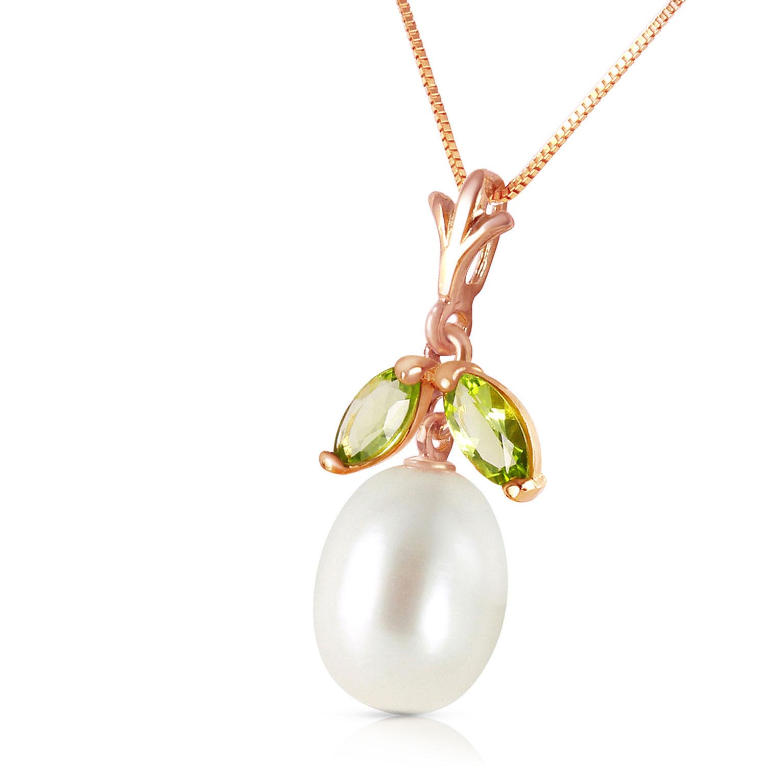 Pearl and Peridot Pendant Necklace 4.5ctw in 14K Rose Gold