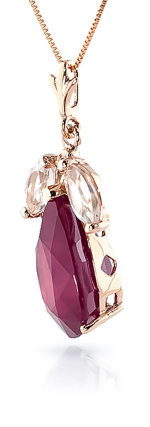 Ruby and White Topaz Pendant Necklace 5.0ct in 14K Rose Gold