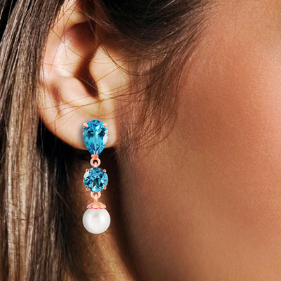 Blue Topaz and Pearl Droplet Earrings 10.5ctw in 9ct Rose Gold