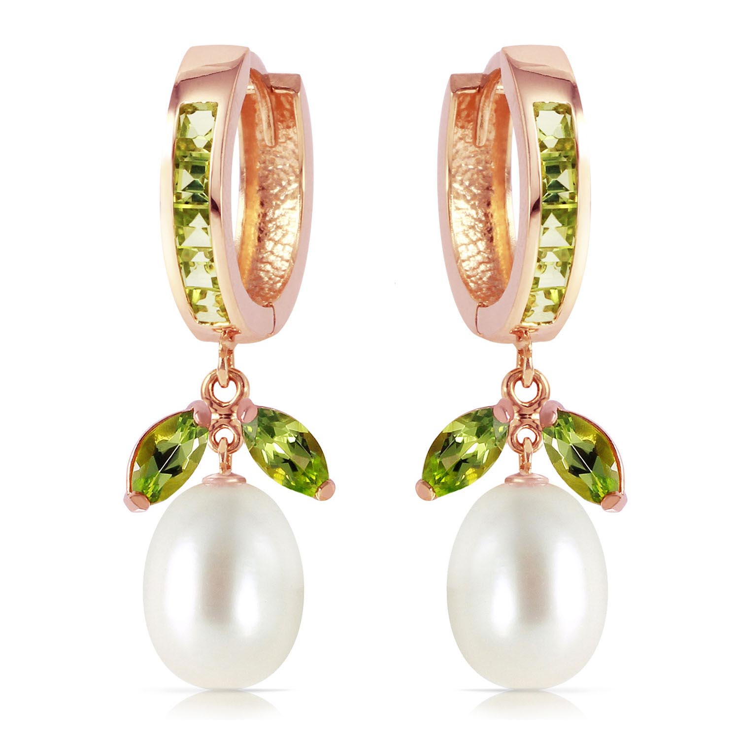 Peridot and Pearl Dewdrop Huggie Earrings 10.3ctw in 9ct Rose Gold