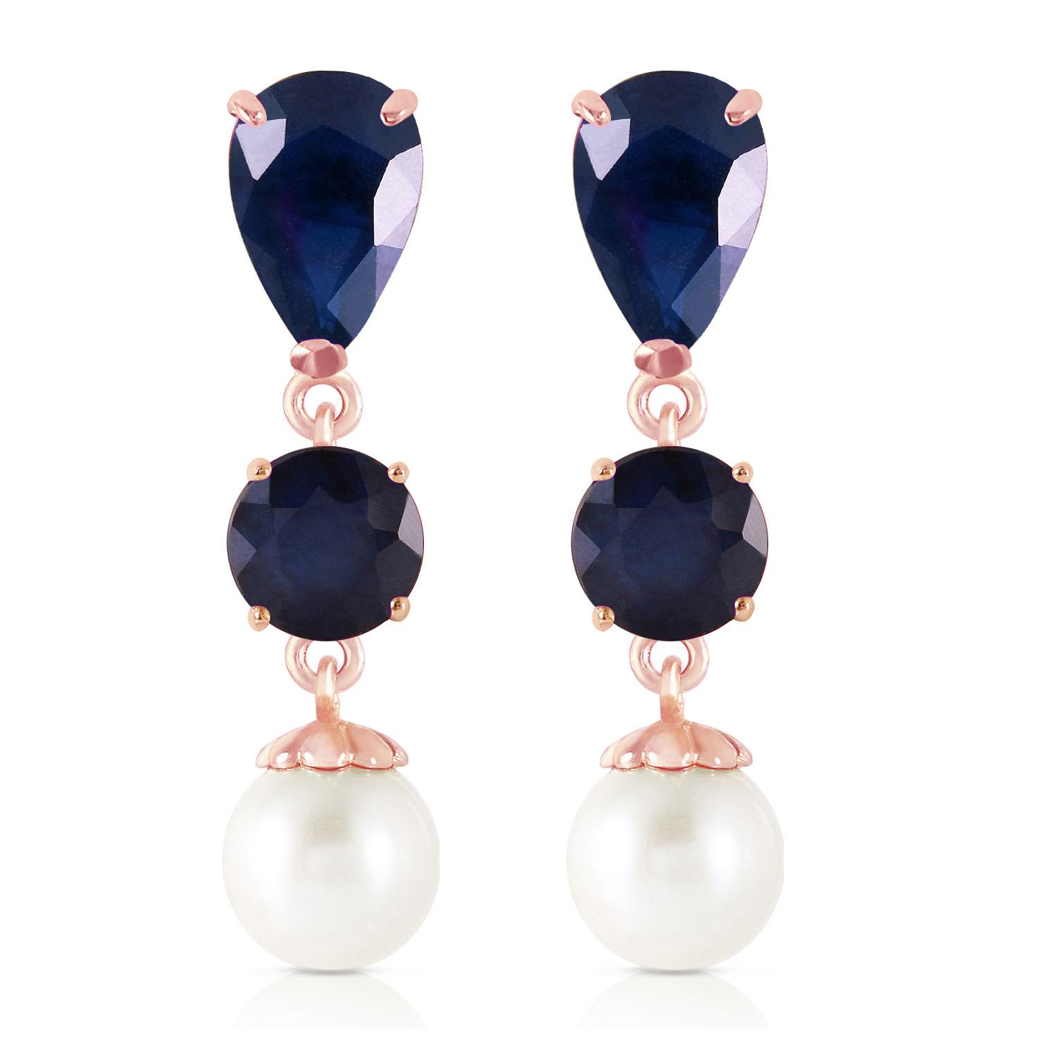 Sapphire and Pearl Drop Earrings 10.1ctw in 14K Rose Gold