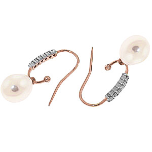 Diamond and Pearl Drop Earrings in 9ct Rose Gold