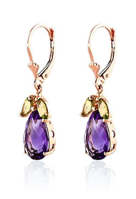 Amethyst and Peridot Drop Earrings 13.0ctw in 9ct Rose Gold