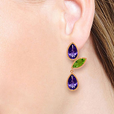 Amethyst and Peridot Petal Drop Earrings 13.6ctw in 9ct Rose Gold