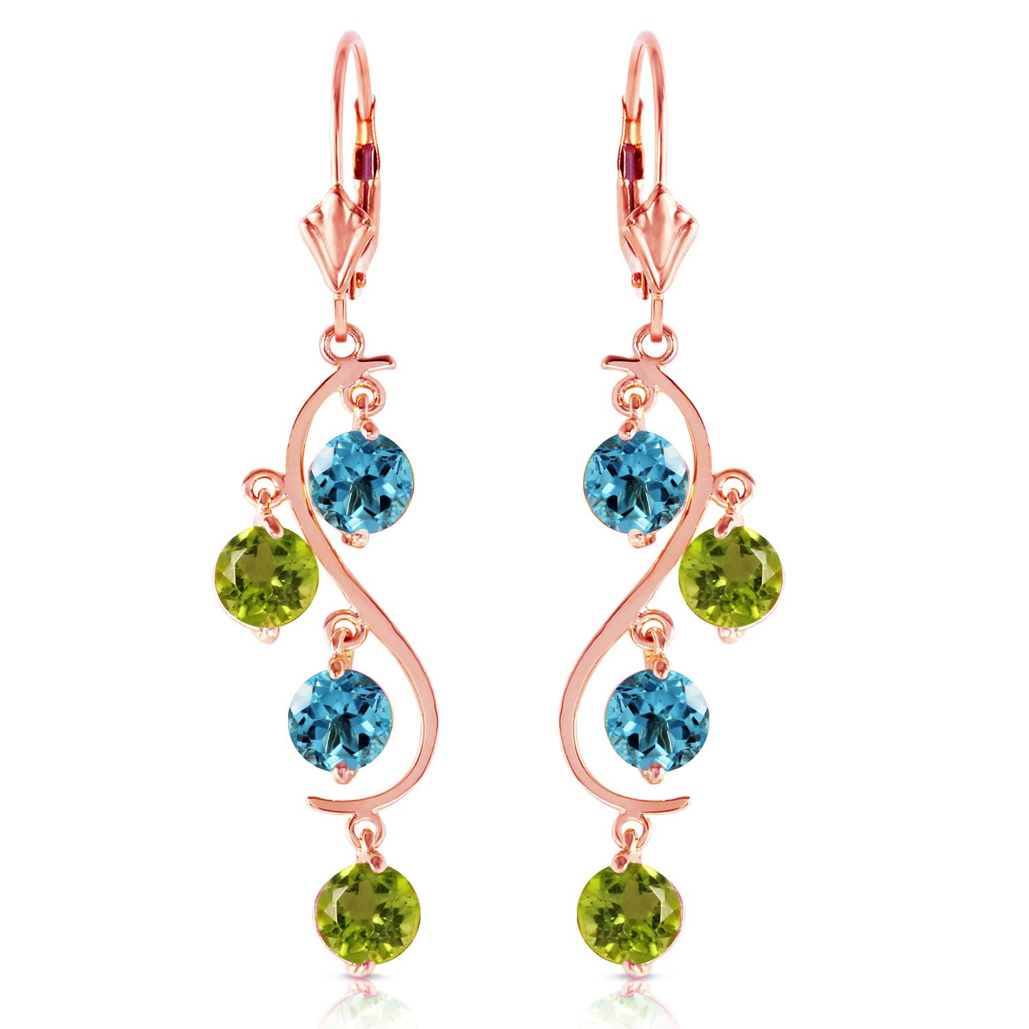 Blue Topaz and Peridot Dream Catcher Drop Earrings 4.94ctw in 14K Rose Gold