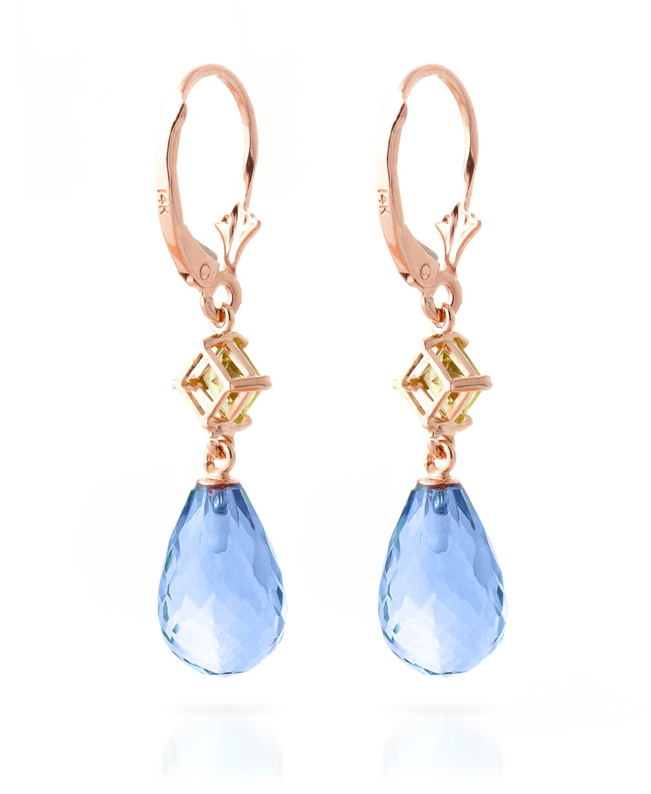 Blue Topaz and Peridot Drop Earrings 11.0ctw in 14K Rose Gold