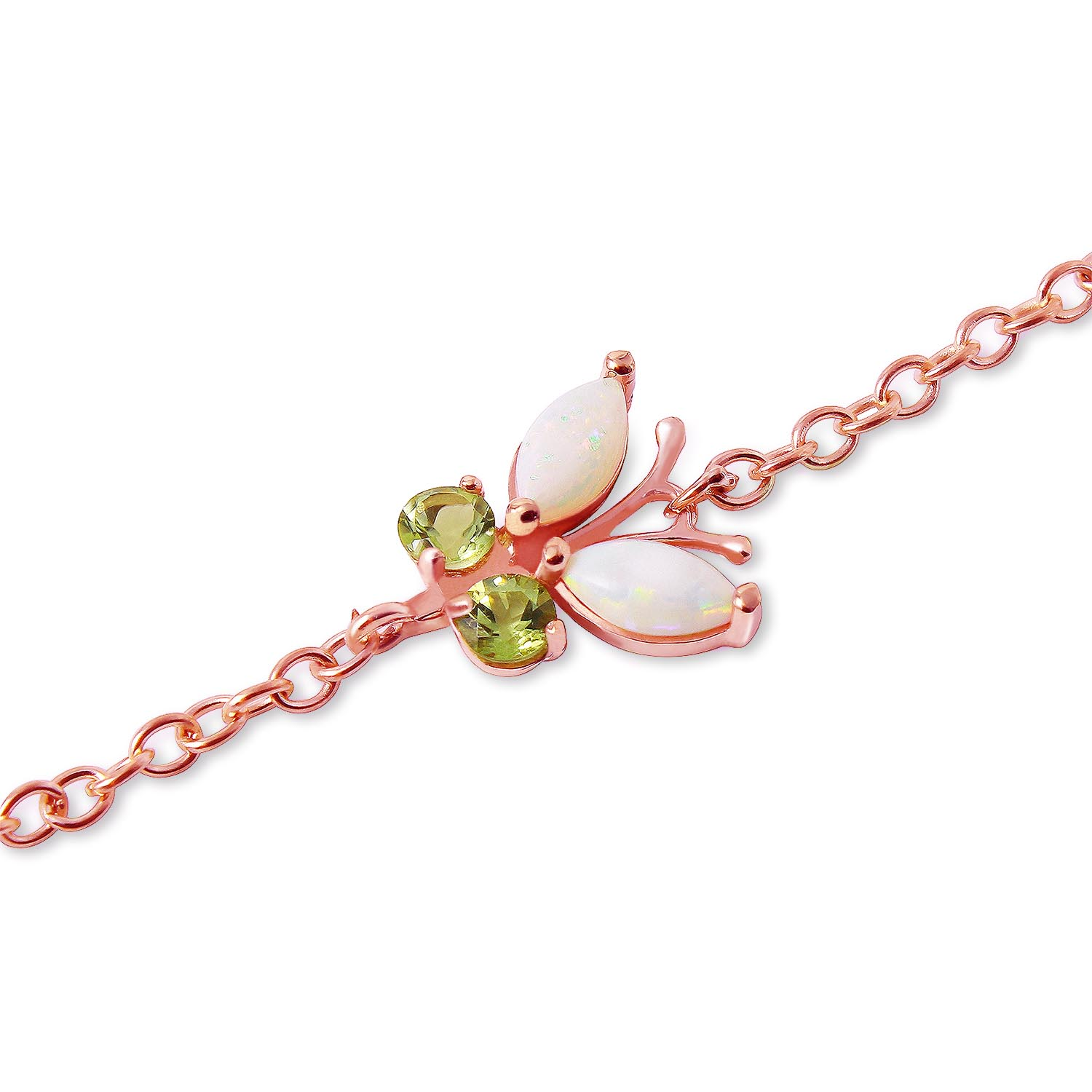 Opal and Peridot Adjustable Butterfly Bracelet 0.6ctw in 9ct Rose Gold