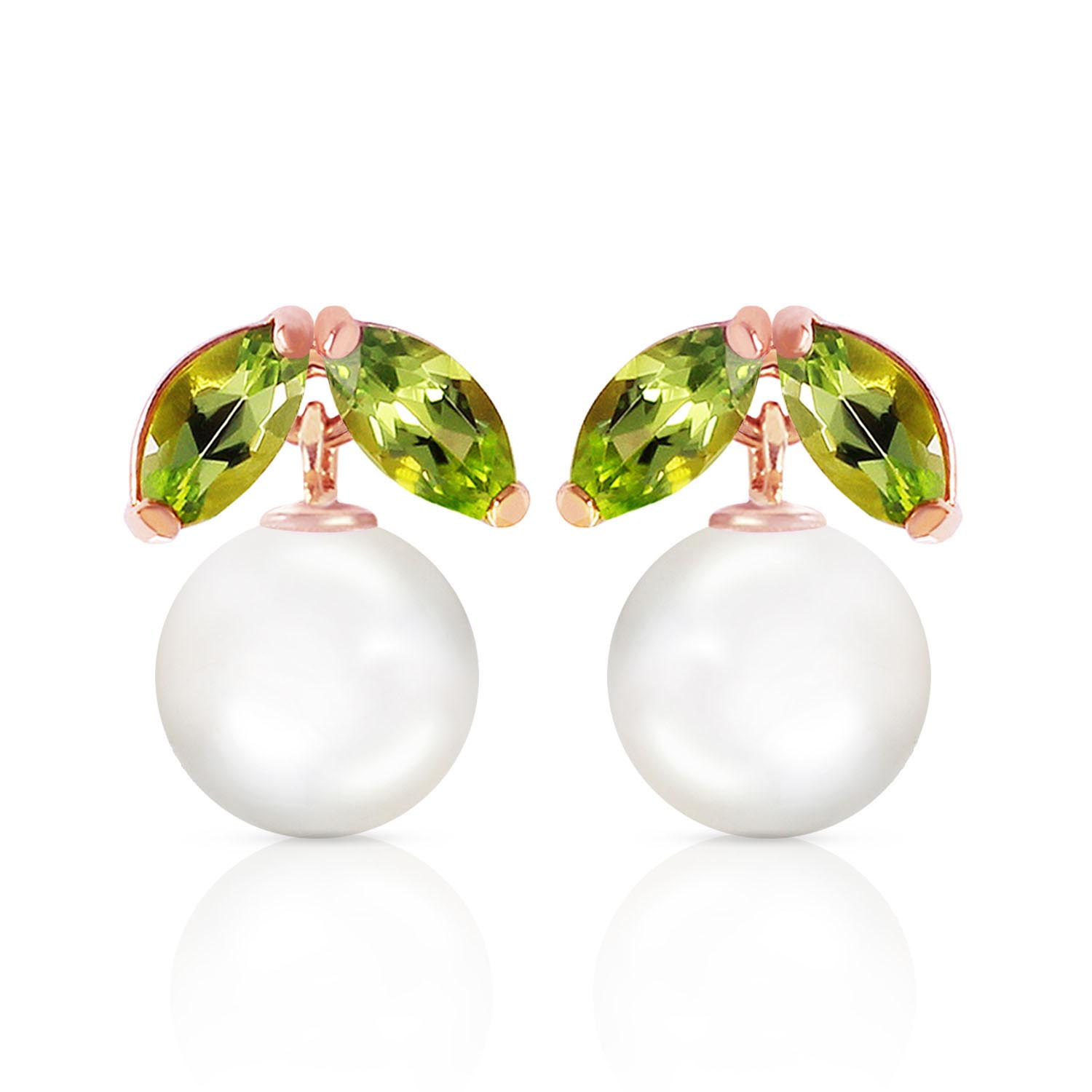 Pearl and Peridot Snowdrop Stud Earrings 4.4ctw in 9ct Rose Gold