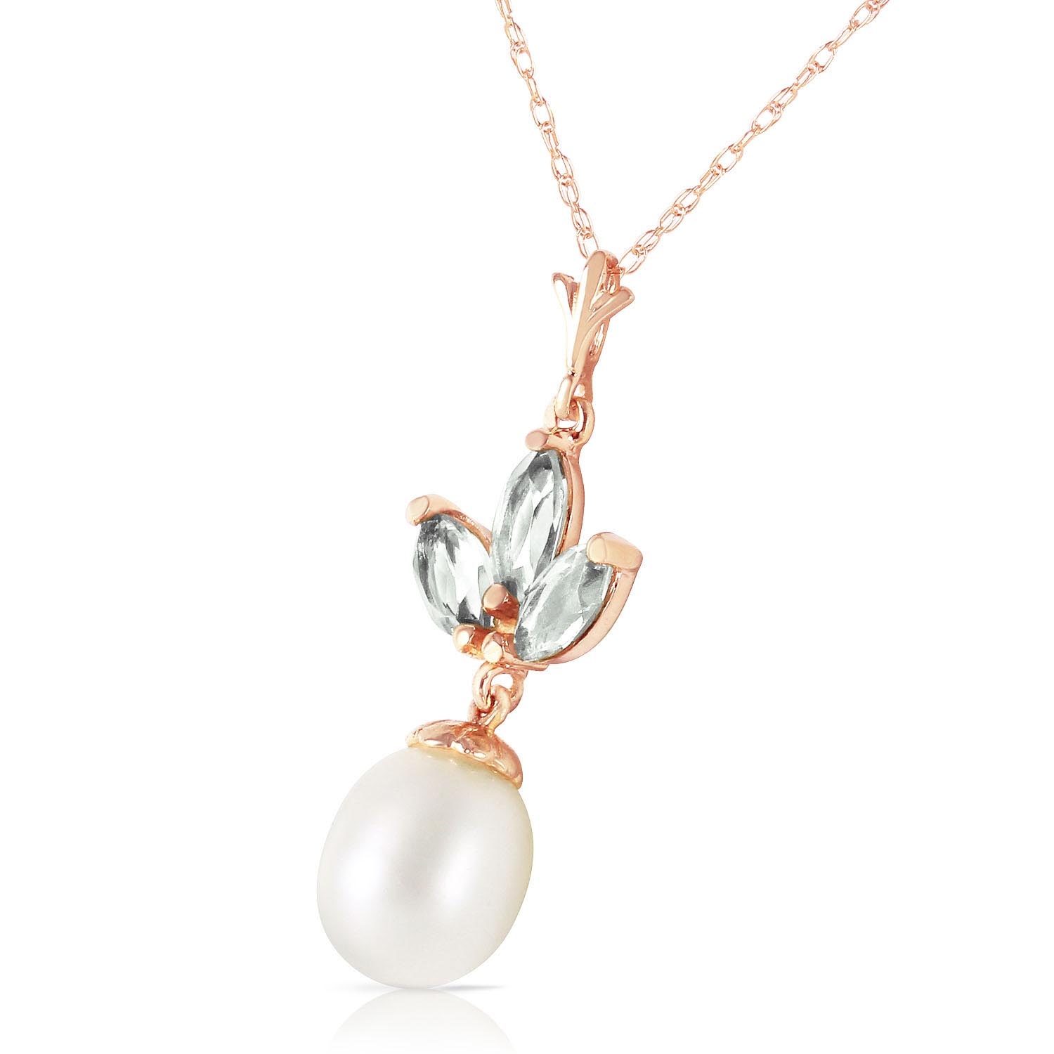Pearl and Green Amethyst Petal Pendant Necklace 4.75ctw in 9ct Rose Gold