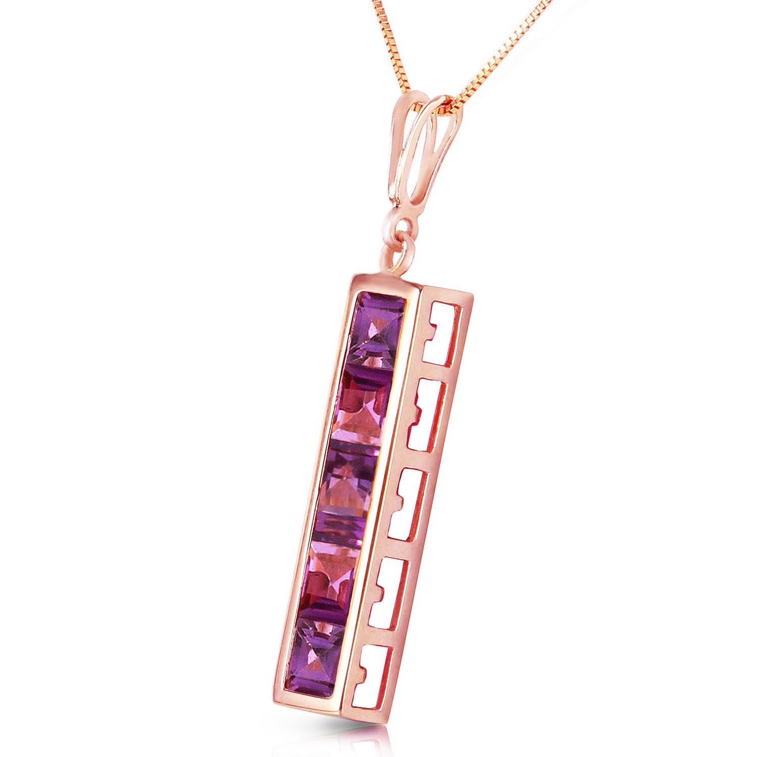 Amethyst Channel Set Pendant Necklace 2.25ctw in 14K Rose Gold