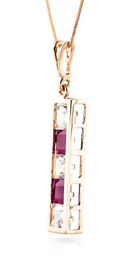 Ruby and White Topaz Channel Set Pendant Necklace 2.35ctw in 14K Rose Gold