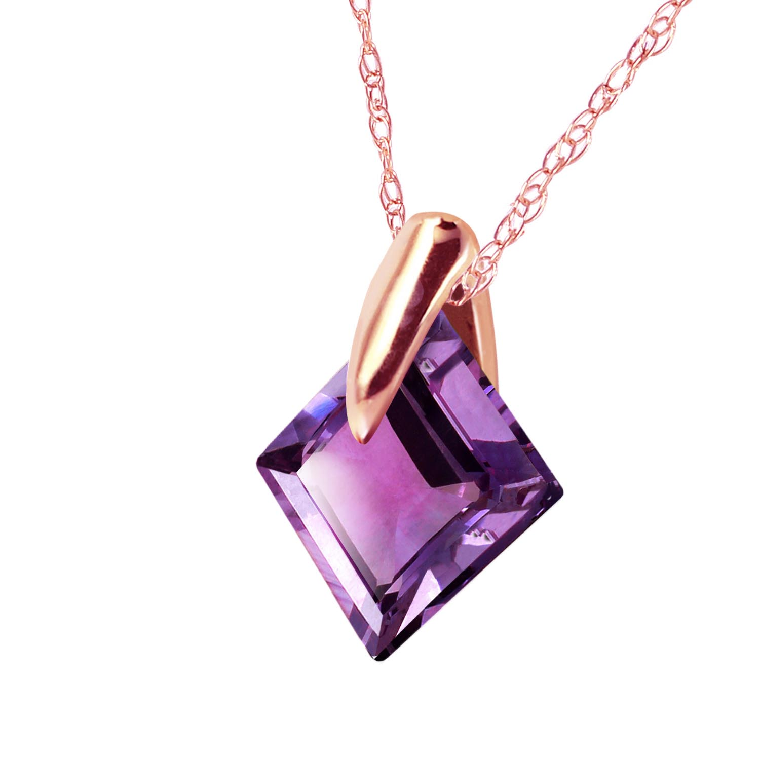 Square Cut Amethyst Pendant Necklace 1.16ct in 9ct Rose Gold