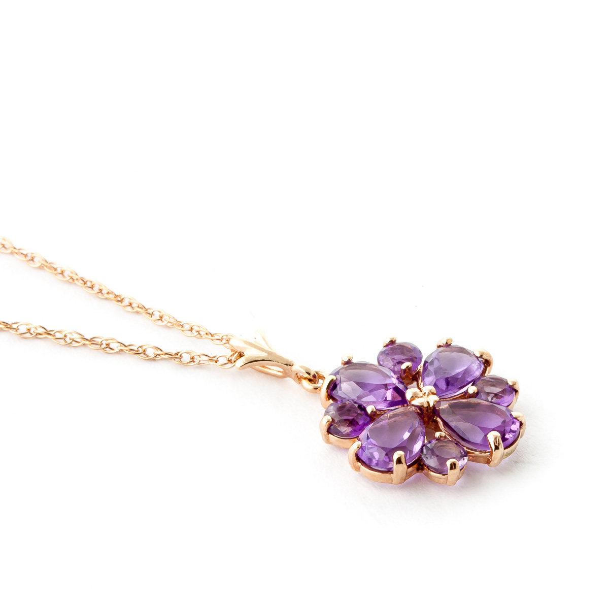 Amethyst Sunflower Pendant Necklace 2.43ctw in 9ct Rose Gold