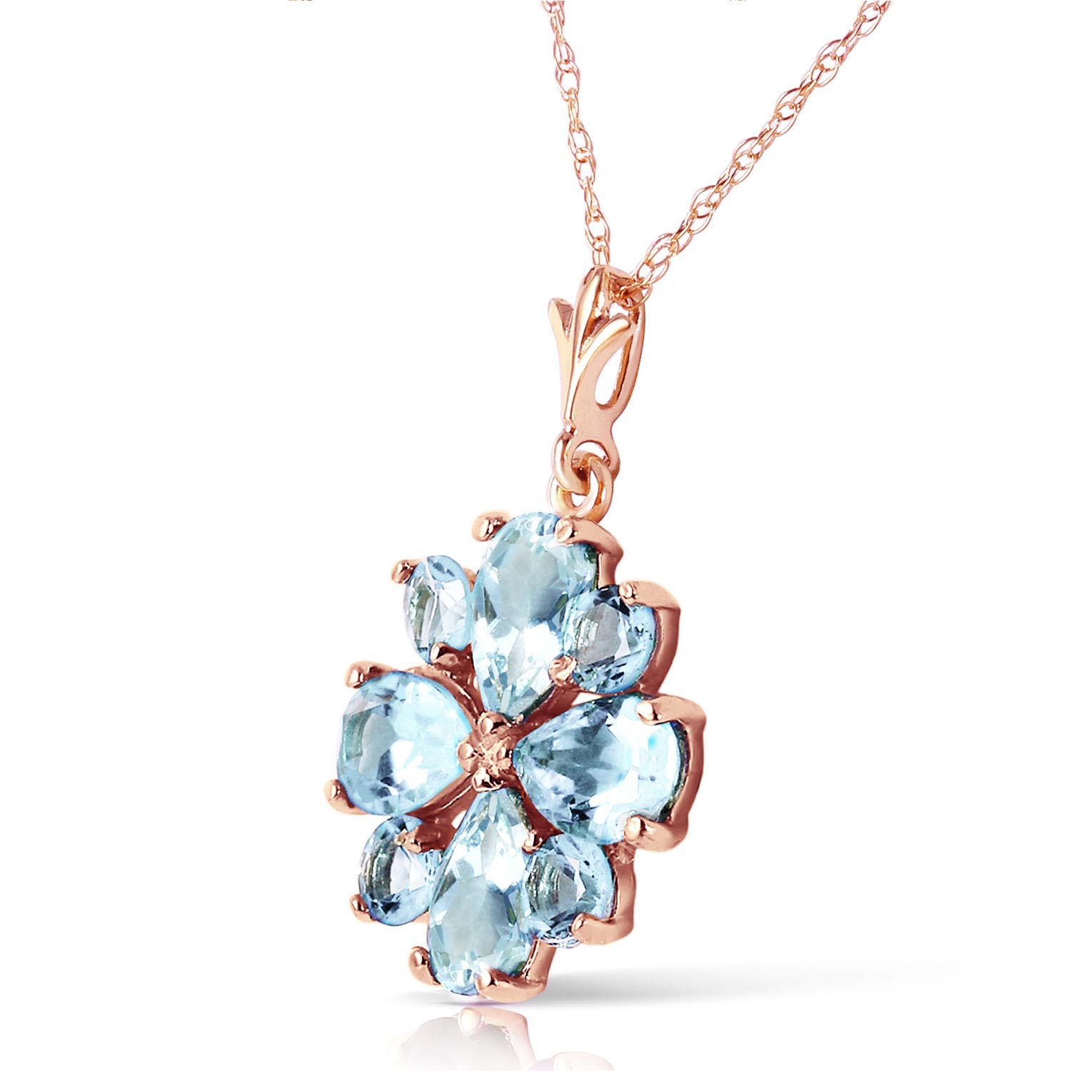 Aquamarine Sunflower Pendant Necklace 2.43ctw in 14K Rose Gold