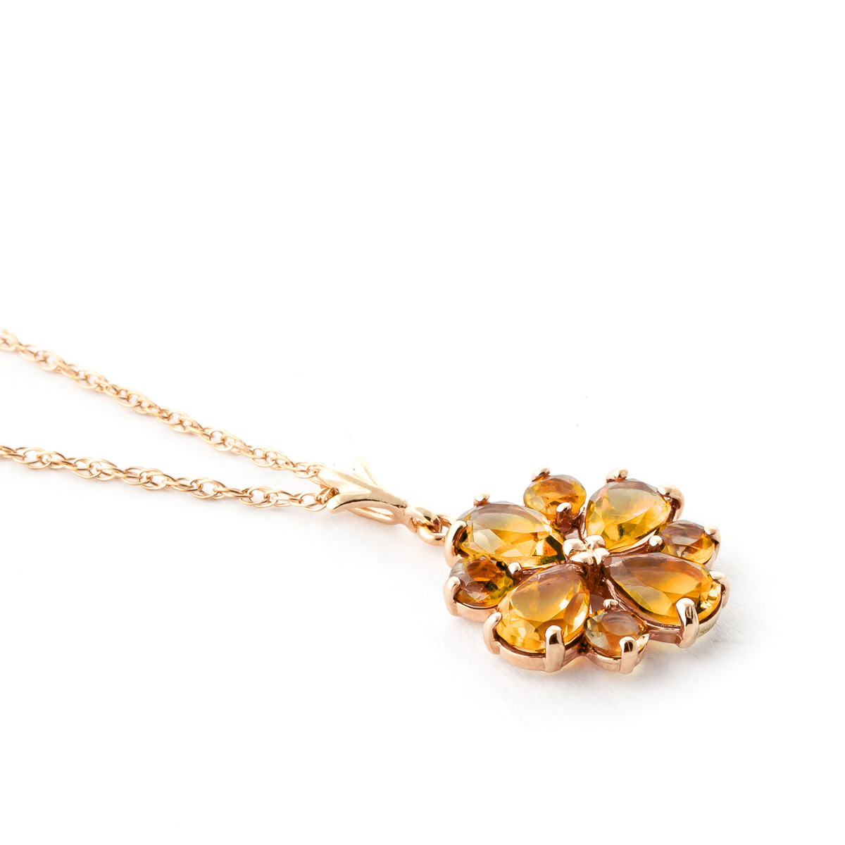 Citrine Sunflower Pendant Necklace 2.43ctw in 14K Rose Gold