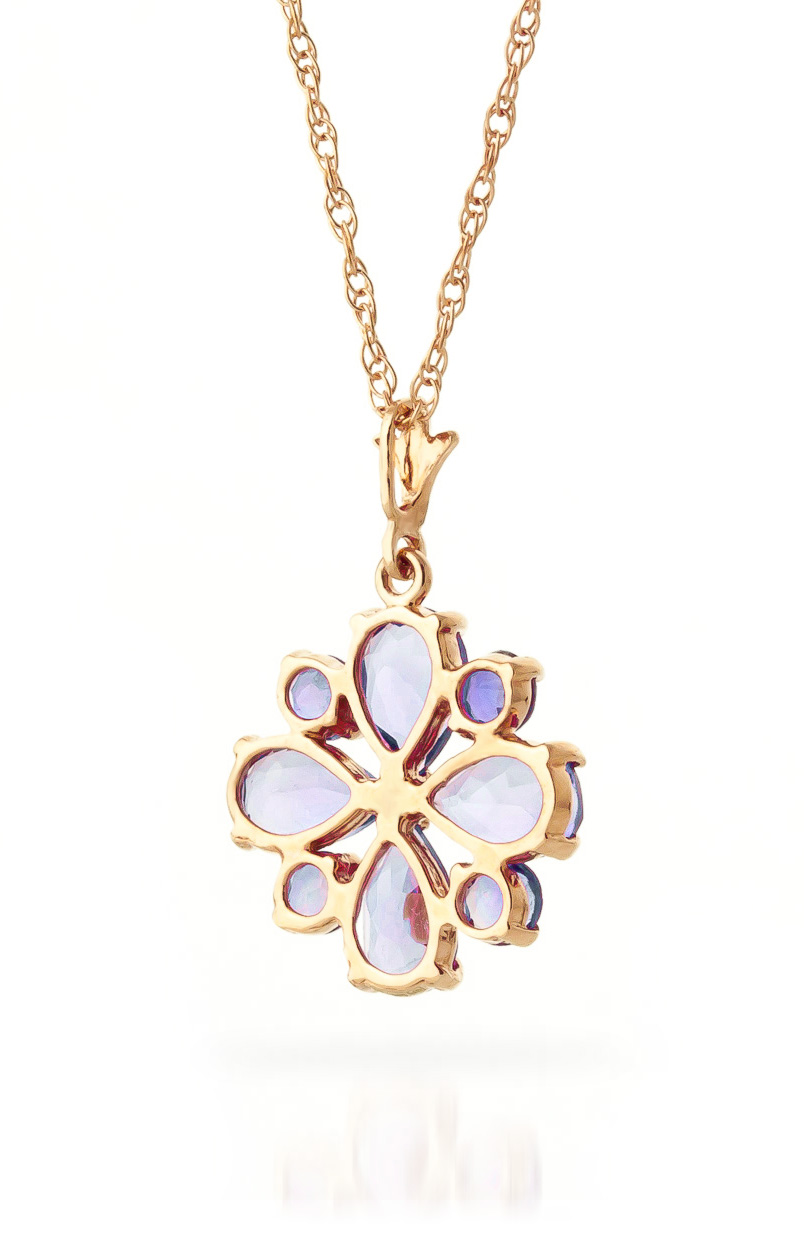 Tanzanite Sunflower Pendant Necklace 2.43ctw in 14K Rose Gold